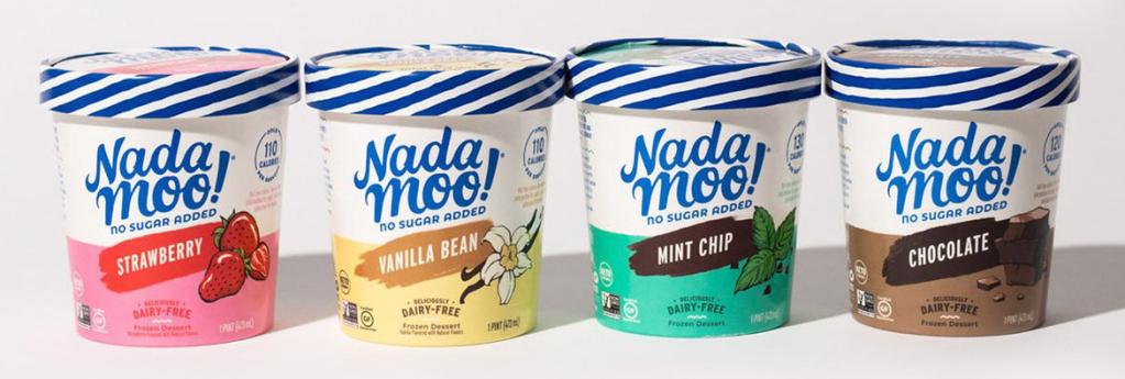 New NadaMoo! sugar-free ice cream flavors: Strawberry, Vanilla Bean, Mint Chip, and Chocolate.